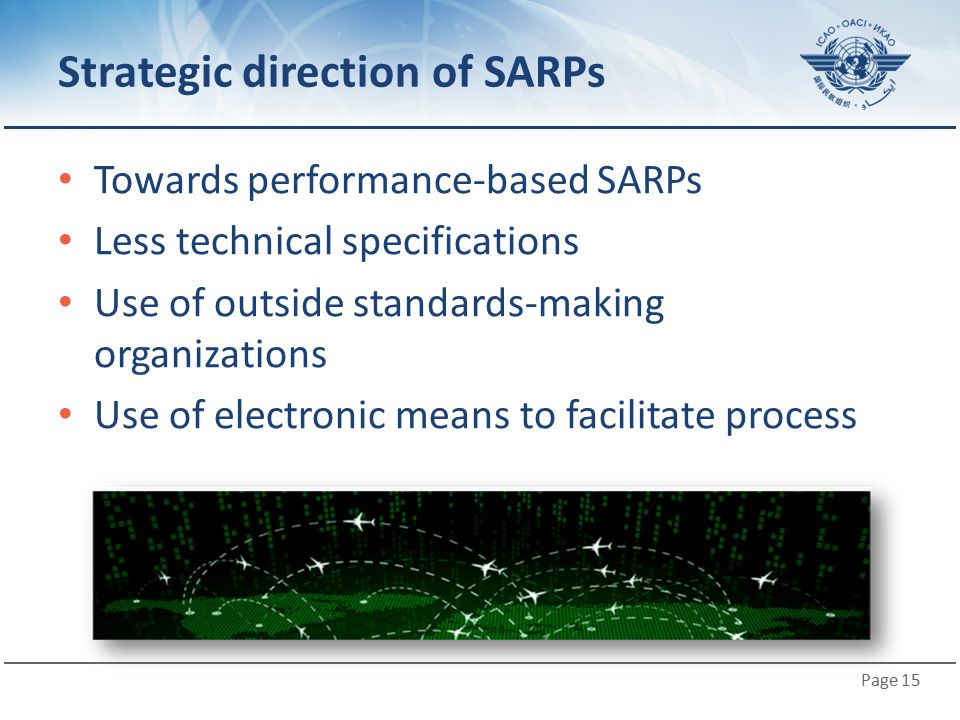 Page 15 Strategic direction of SARPs Towards performance-based SARPs Less technical specifications Use of outside standards-making organizations Use o