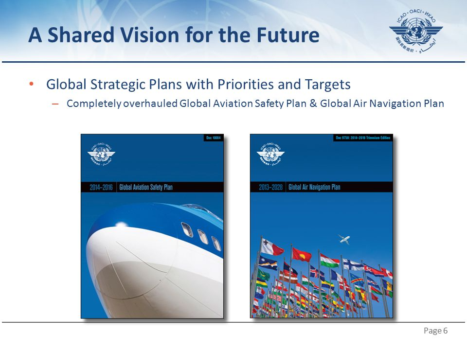Page 6 A Shared Vision for the Future Global Strategic Plans with Priorities and Targets – Completely overhauled Global Aviation Safety Plan & Global