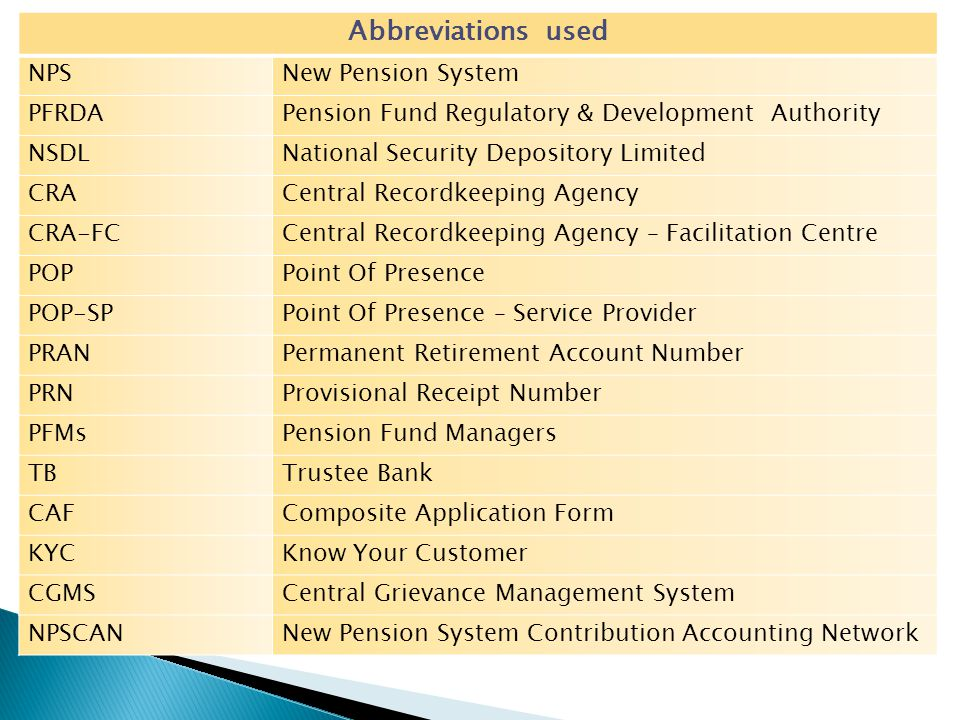 Abbreviations used NPSNew Pension System PFRDAPension Fund Regulatory & Development Authority NSDLNational Security Depository Limited CRACentral Reco