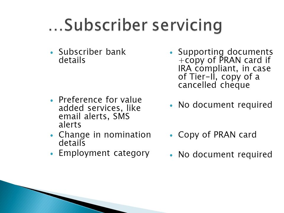 Subscriber bank details Preference for value added services, like email alerts, SMS alerts Change in nomination details Employment category Supporting