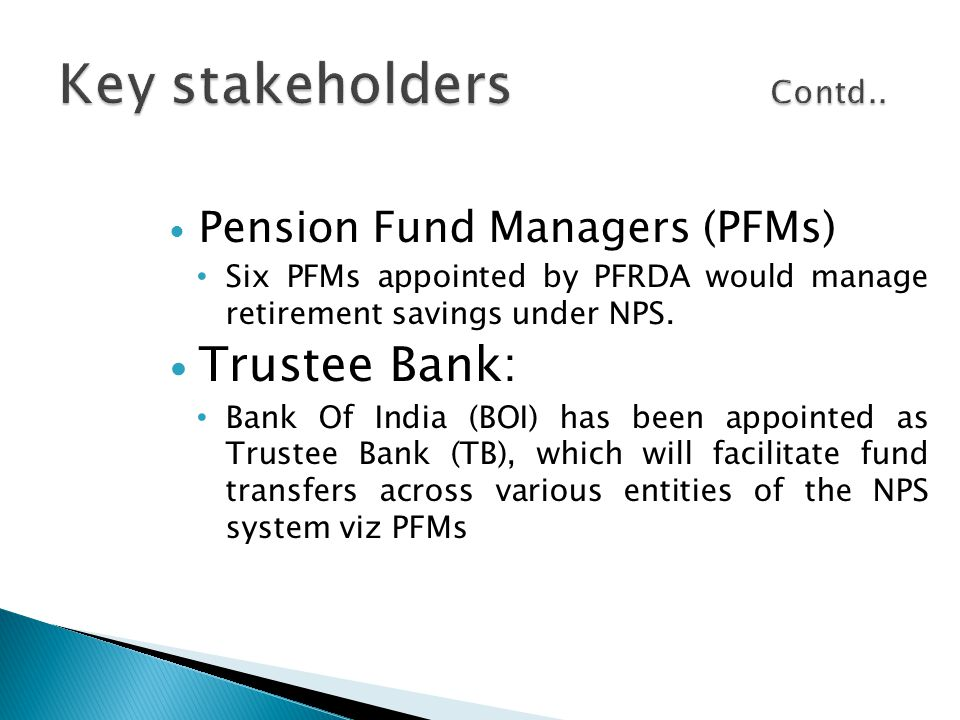 Pension Fund Managers (PFMs) Six PFMs appointed by PFRDA would manage retirement savings under NPS. Trustee Bank: Bank Of India (BOI) has been appoint