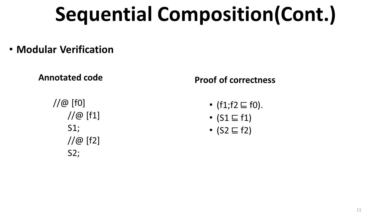 Sequential Composition(Cont.) Modular Verification Annotated code //@ [f0] //@ [f1] S1; //@ [f2] S2; Proof of correctness (f1;f2 ⊑ f0).