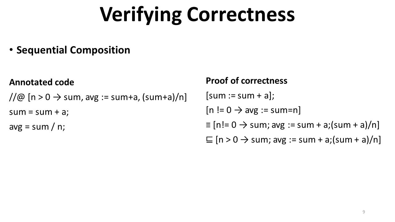 Verifying Correctness Sequential Composition Annotated code //@ [n > 0 → sum, avg := sum+a, (sum+a)/n] sum = sum + a; avg = sum / n; Proof of correctn