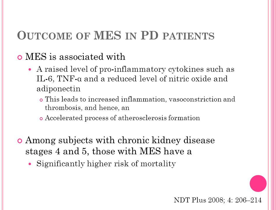 O UTCOME OF MES IN PD PATIENTS MES is associated with A raised level of pro-inflammatory cytokines such as IL-6, TNF-α and a reduced level of nitric oxide and adiponectin This leads to increased inflammation, vasoconstriction and thrombosis, and hence, an Accelerated process of atherosclerosis formation Among subjects with chronic kidney disease stages 4 and 5, those with MES have a Significantly higher risk of mortality NDT Plus 2008; 4: 206–214