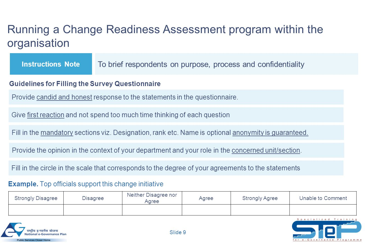 Slide 9 Running a Change Readiness Assessment program within the organisation Instructions Note To brief respondents on purpose, process and confident