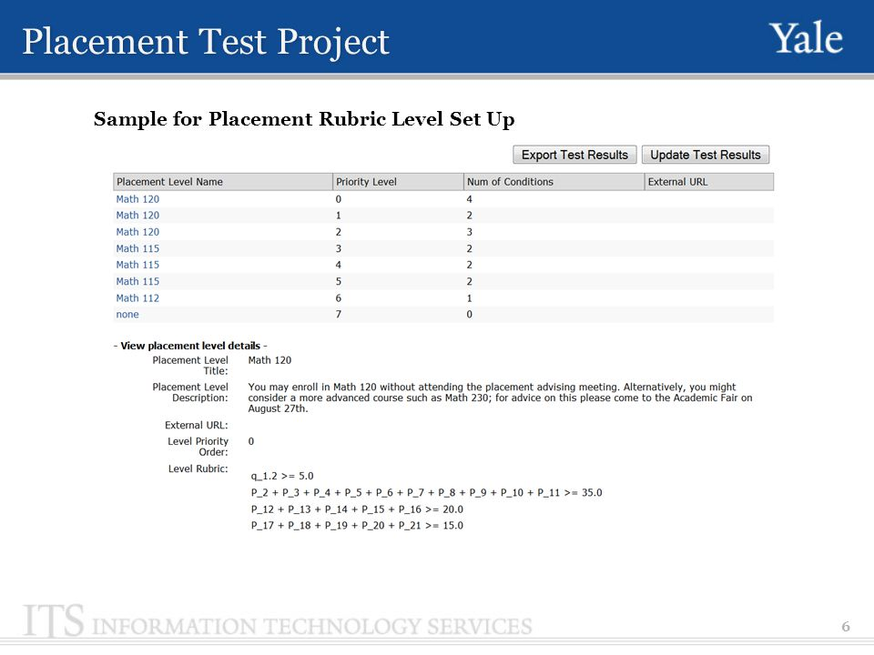 Placement Test Project 6 Sample for Placement Rubric Level Set Up