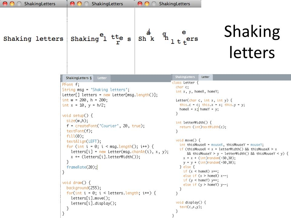 Shaking letters
