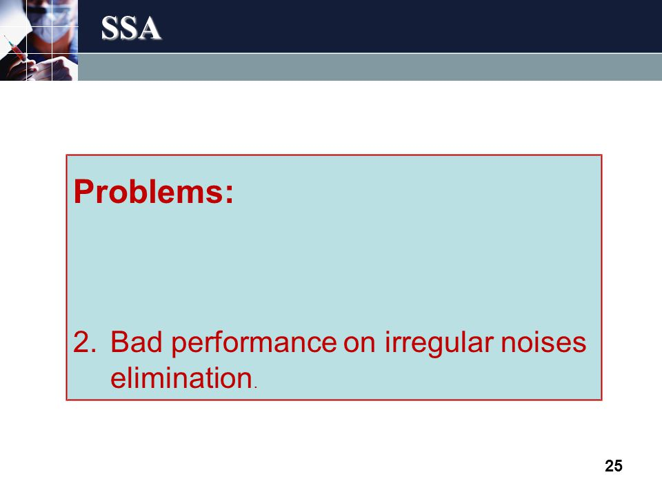SSA 25 Problems: 2.Bad performance on irregular noises elimination.