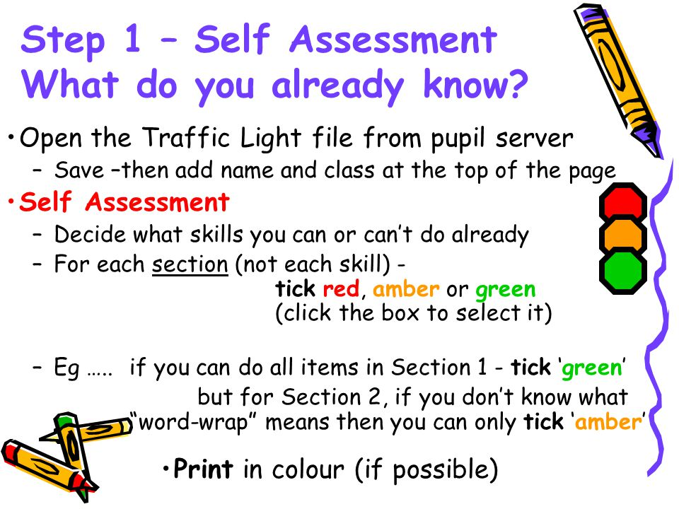 Step 1 – Self Assessment What do you already know.