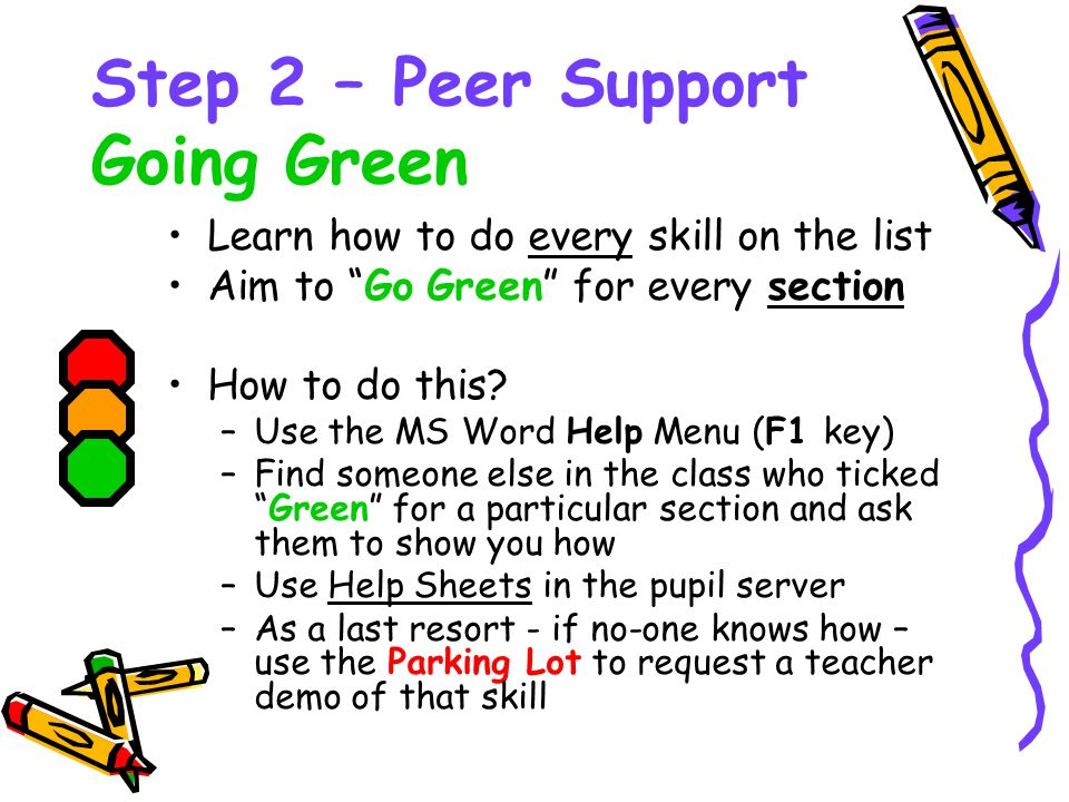 """Step 2 – Peer Support Going Green Learn how to do every skill on the list Aim to """"Go Green"""" for every section How to do this? –Use the MS Word Help Me"""
