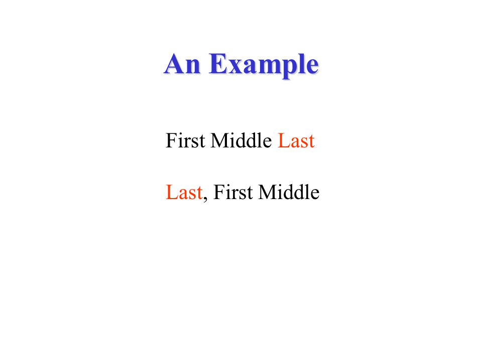 An Example First Middle Last Last, First Middle