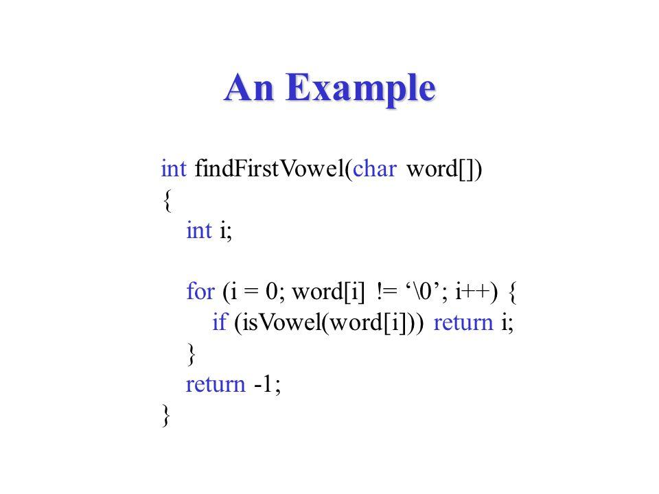 strlen int strlen(char str[]) { int i; for (i = 0; str[i] != '\0'; i++) ; return i; }