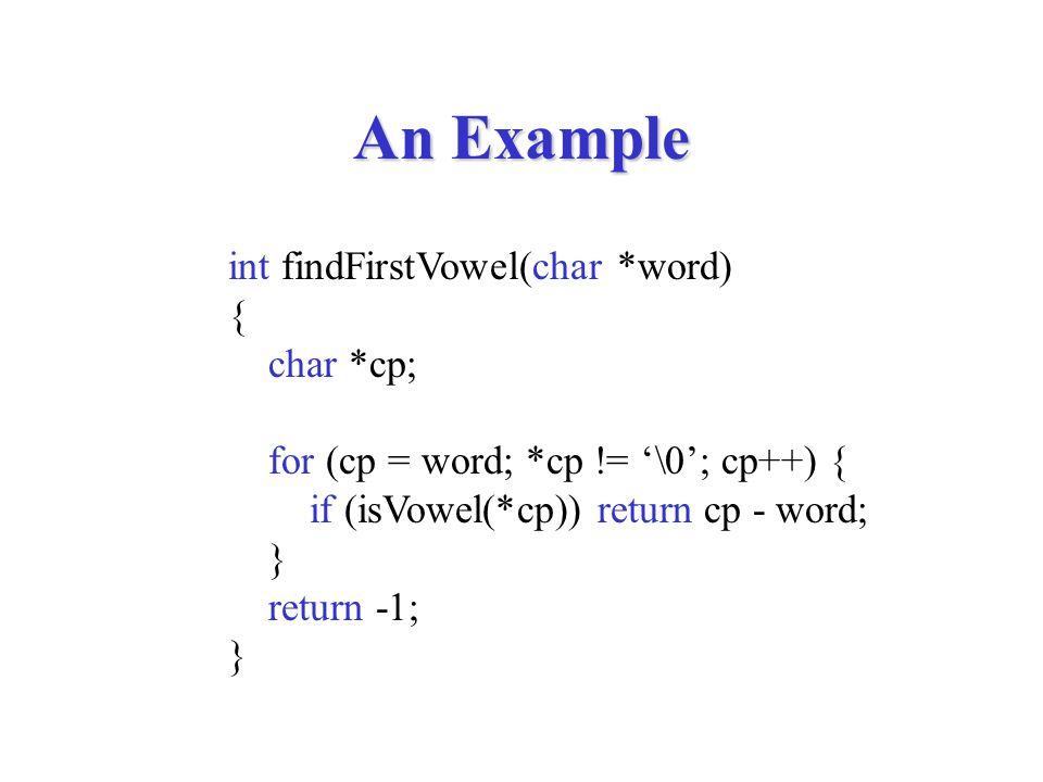 An Example int findFirstVowel(string word) { int i; for (i = 0; i < stringLength(word); i++) { if (isVowel(ithChar(word, i))) return i; } return -1; }