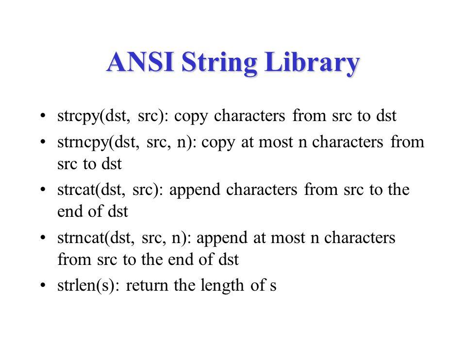 strstr char *strstr(char s1[], char s2[]) { int i, len1, len2; len1 = strlen(s1); len2 = strlen(s2); for (i = 0; i < len1-len2; i++) { if (!strncmp(&s[i], s2, len2)) return &s[i]; } return NULL; }
