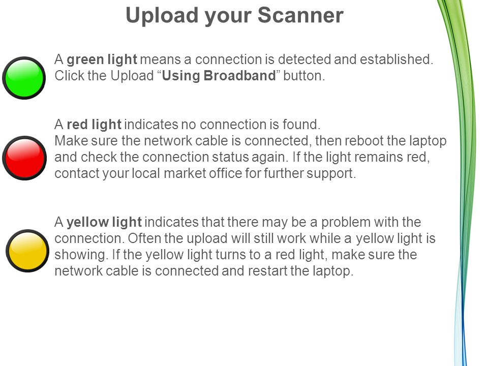 "Upload your Scanner A green light means a connection is detected and established. Click the Upload ""Using Broadband"" button. A red light indicates no"