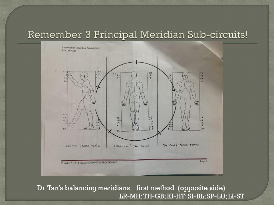 Dr. Tan's balancing meridians: first method: (opposite side) LR-MH; TH-GB; KI-HT; SI-BL; SP-LU; LI-ST