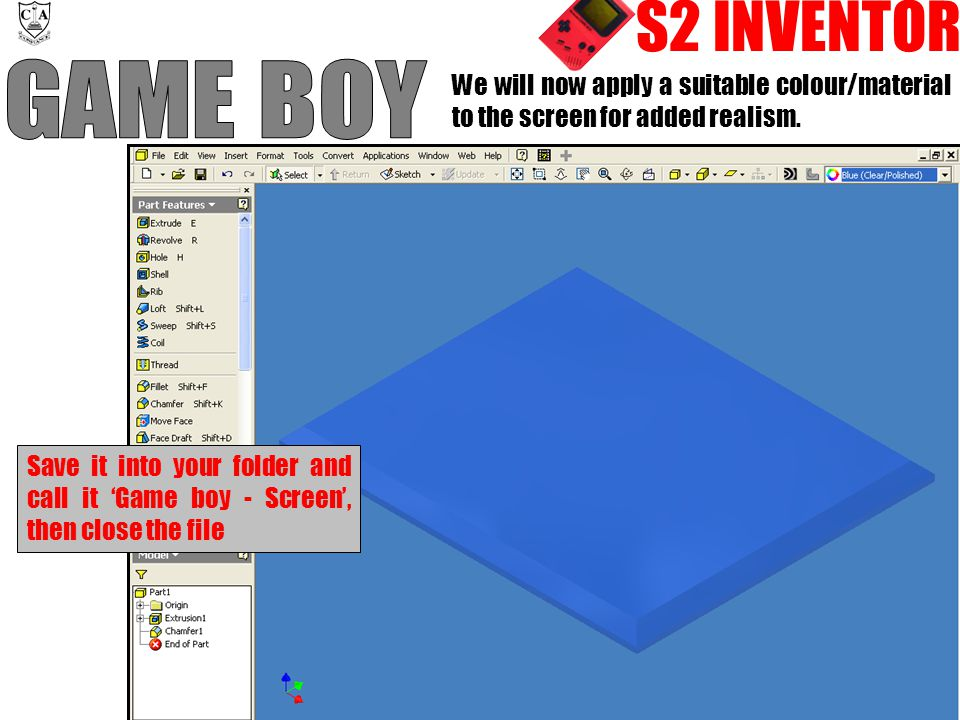 S2 INVENTOR We will now apply a suitable colour/material to the screen for added realism.