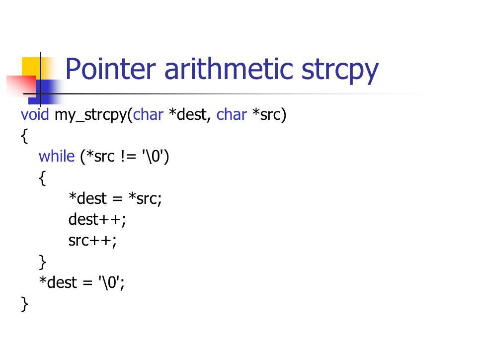 Pointer arithmetic strcpy void my_strcpy(char *dest, char *src) { while (*src != \0 ) { *dest = *src; dest++; src++; } *dest = \0 ; }