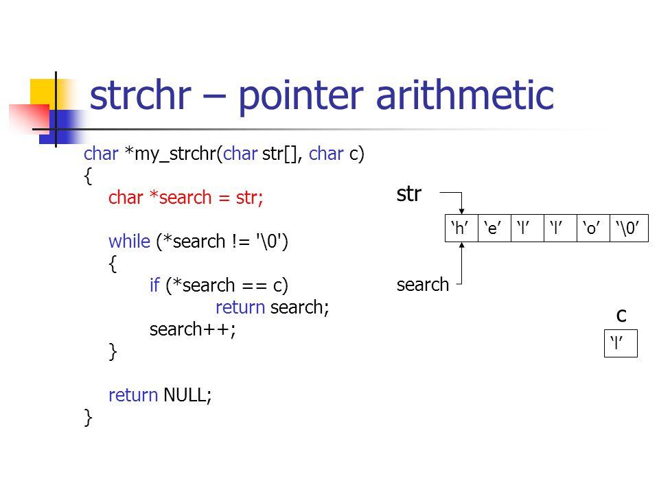 strchr – pointer arithmetic char *my_strchr(char str[], char c) { char *search = str; while (*search != \0 ) { if (*search == c) return search; search++; } return NULL; } 'h''e''l' 'o' str '\0' c 'l' search