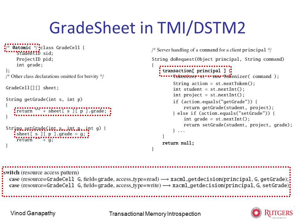 Vinod Ganapathy GradeSheet in TMI/DSTM2 Transactional Memory Introspection