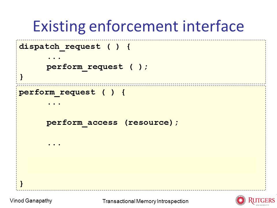Vinod Ganapathy Existing enforcement interface dispatch_request ( ) {...