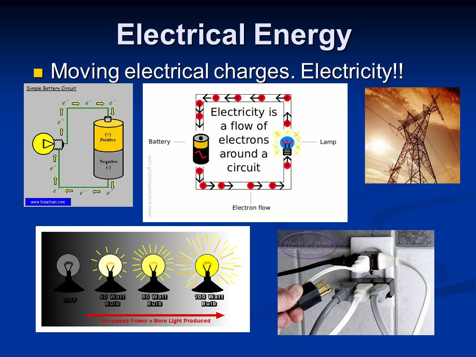 Electrical Energy Moving electrical charges. Electricity!! Moving electrical charges. Electricity!!