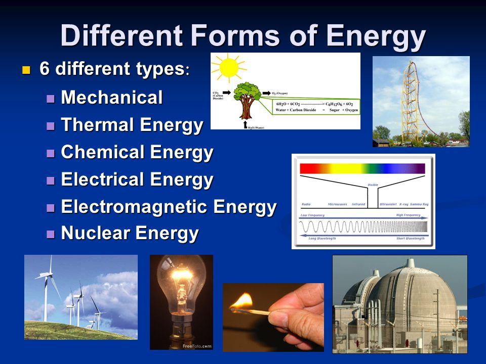 Different Forms of Energy 6 different types : 6 different types : Mechanical Mechanical Thermal Energy Thermal Energy Chemical Energy Chemical Energy
