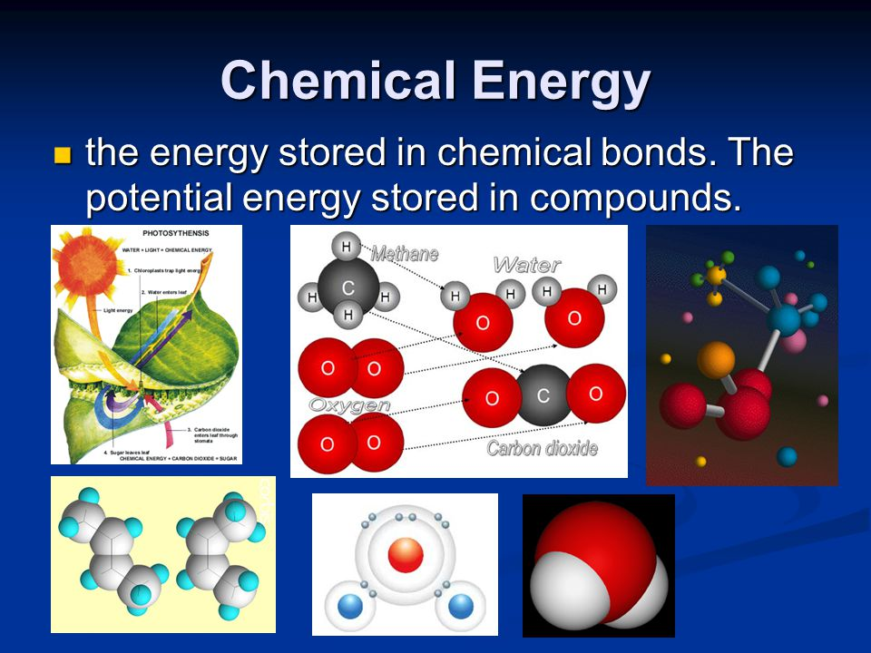 Chemical Energy the energy stored in chemical bonds. The potential energy stored in compounds. the energy stored in chemical bonds. The potential ener