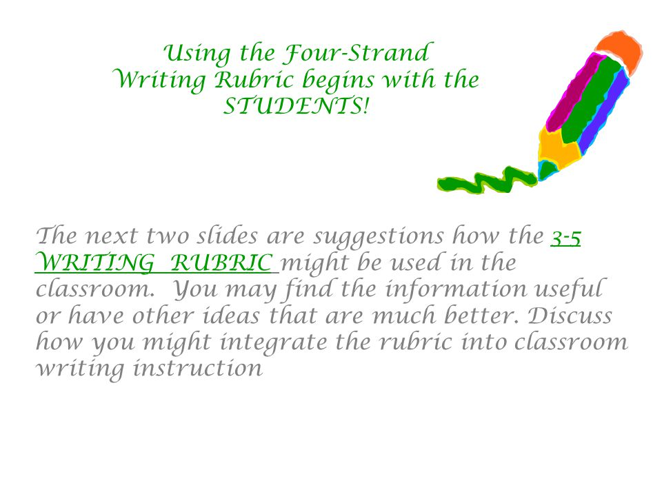 Using the Four-Strand Writing Rubric begins with the STUDENTS.