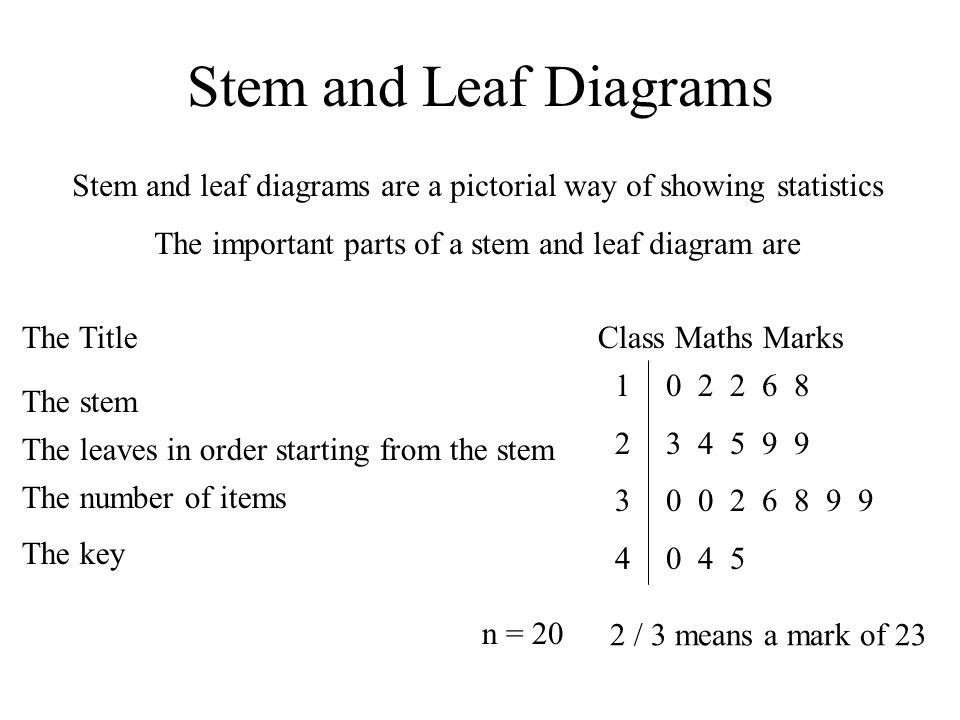 Stem and Leaf Diagrams Stem and leaf diagrams are a pictorial way of showing statistics The important parts of a stem and leaf diagram are The Title The stem The leaves in order starting from the stem The number of items The key Class Maths Marks 12341234 0 2 2 6 8 3 4 5 9 9 0 0 2 6 8 9 9 0 4 5 n = 20 2 / 3 means a mark of 23