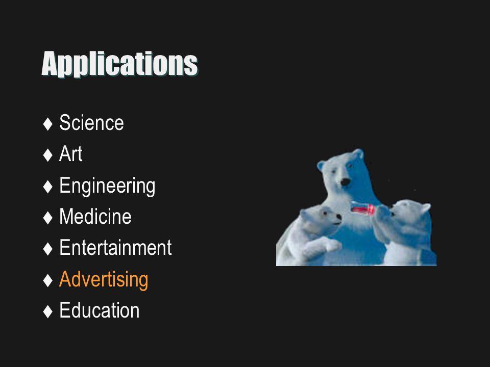 Applications  Science  Art  Engineering  Medicine  Entertainment  Advertising  Education