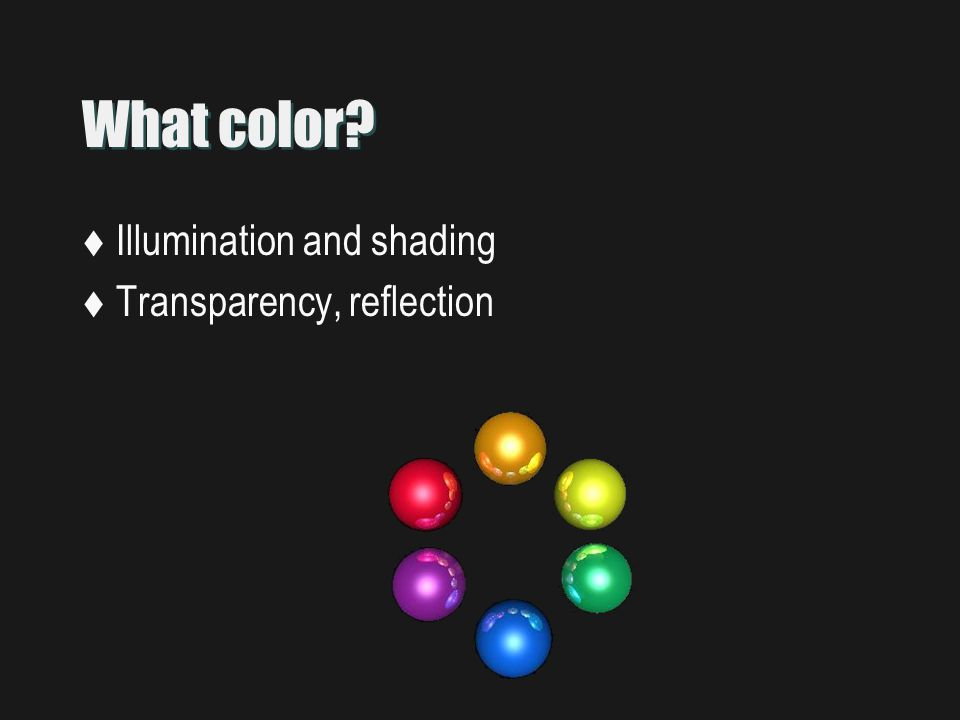 What color  Illumination and shading  Transparency, reflection