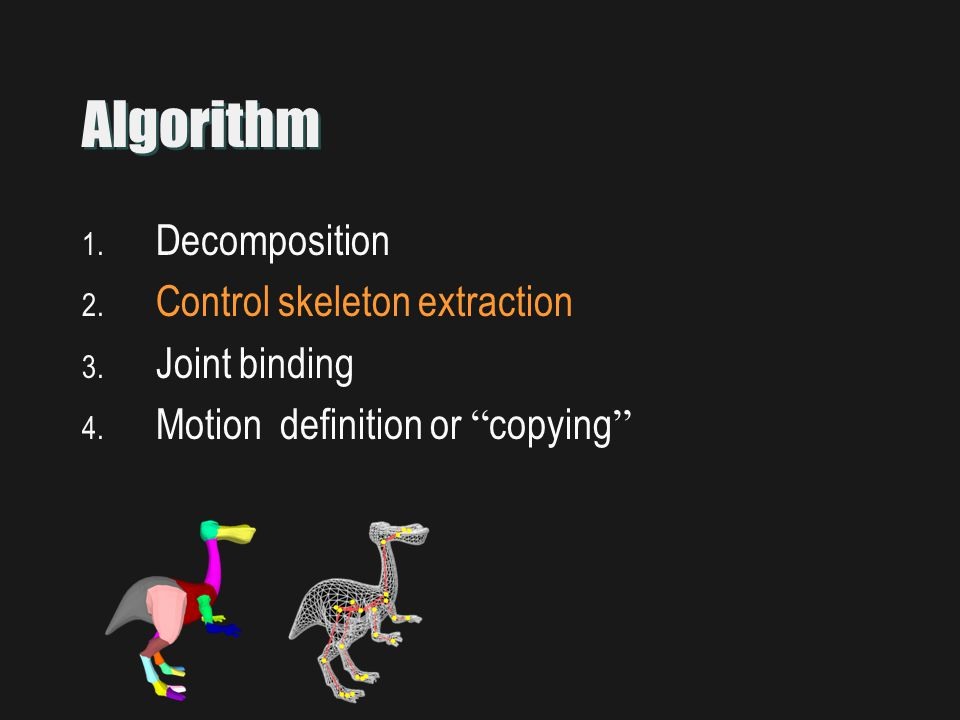 Algorithm 1. Decomposition 2. Control skeleton extraction 3.