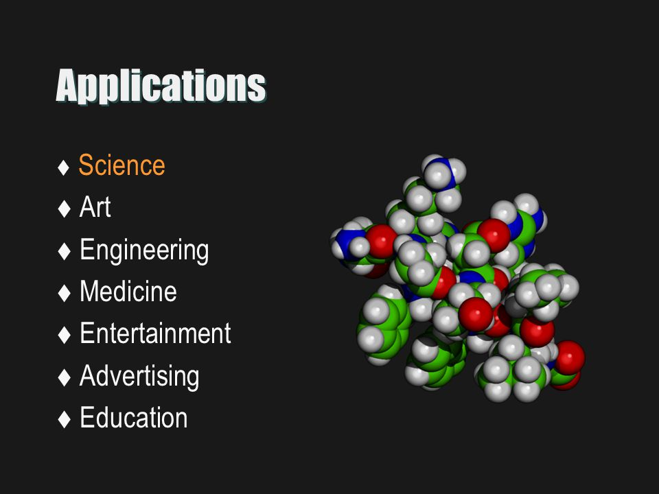 Applications  Science  Art  Engineering  Medicine  Entertainment  Advertising  Education