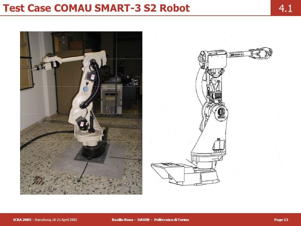 ICRA 2005 – Barcelona, 18-21 April 2005Basilio Bona – DAUIN – Politecnico di TorinoPage 13 Test Case COMAU SMART-3 S2 Robot 4.1