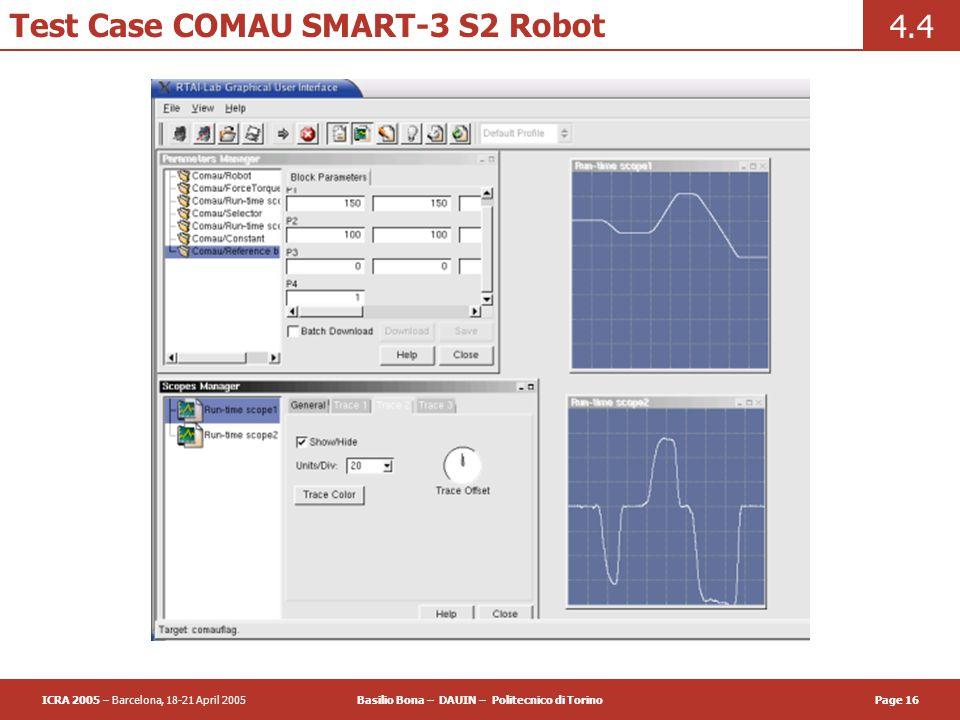 ICRA 2005 – Barcelona, 18-21 April 2005Basilio Bona – DAUIN – Politecnico di TorinoPage 16 Test Case COMAU SMART-3 S2 Robot 4.4