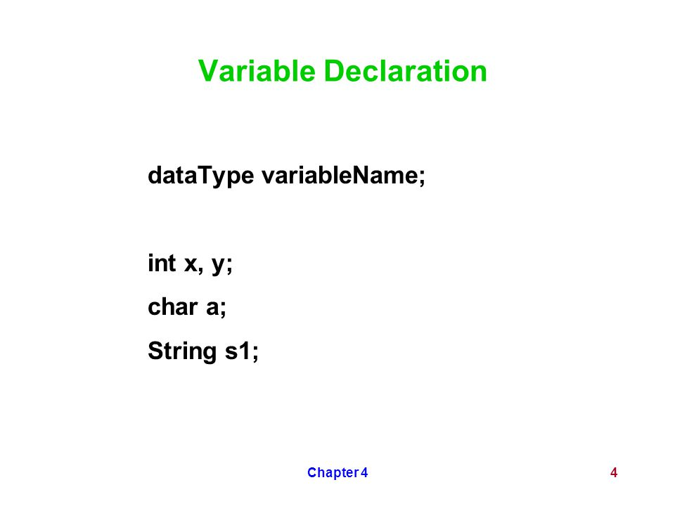 Chapter 44 Variable Declaration dataType variableName; int x, y; char a; String s1;