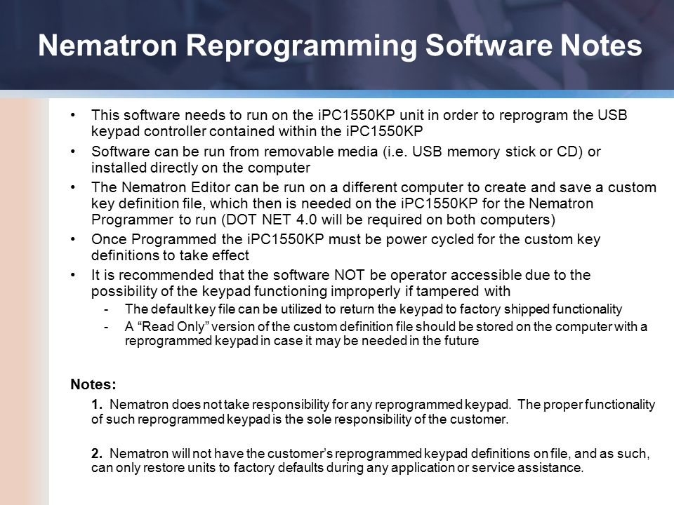 This software needs to run on the iPC1550KP unit in order to reprogram the USB keypad controller contained within the iPC1550KP Software can be run from removable media (i.e.