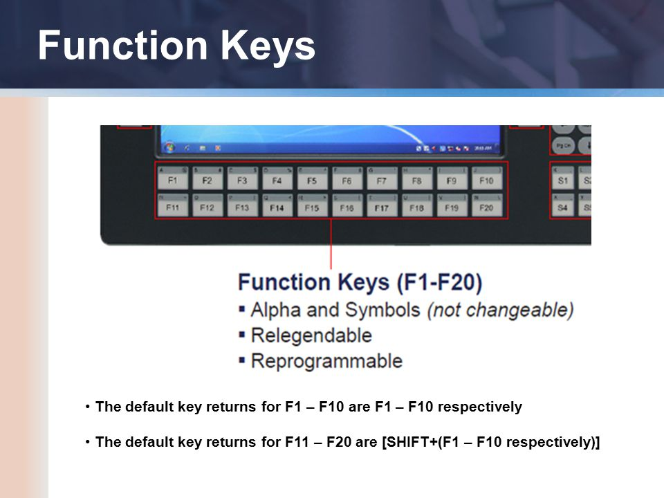 Function Keys The default key returns for F1 – F10 are F1 – F10 respectively The default key returns for F11 – F20 are [SHIFT+(F1 – F10 respectively)]