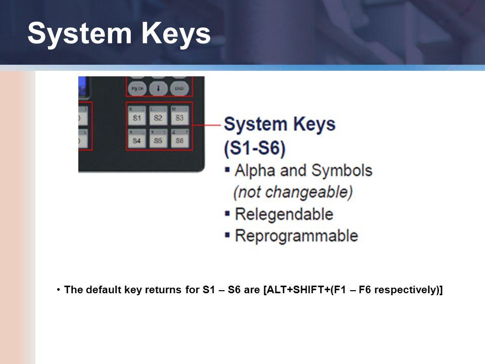 System Keys The default key returns for S1 – S6 are [ALT+SHIFT+(F1 – F6 respectively)]