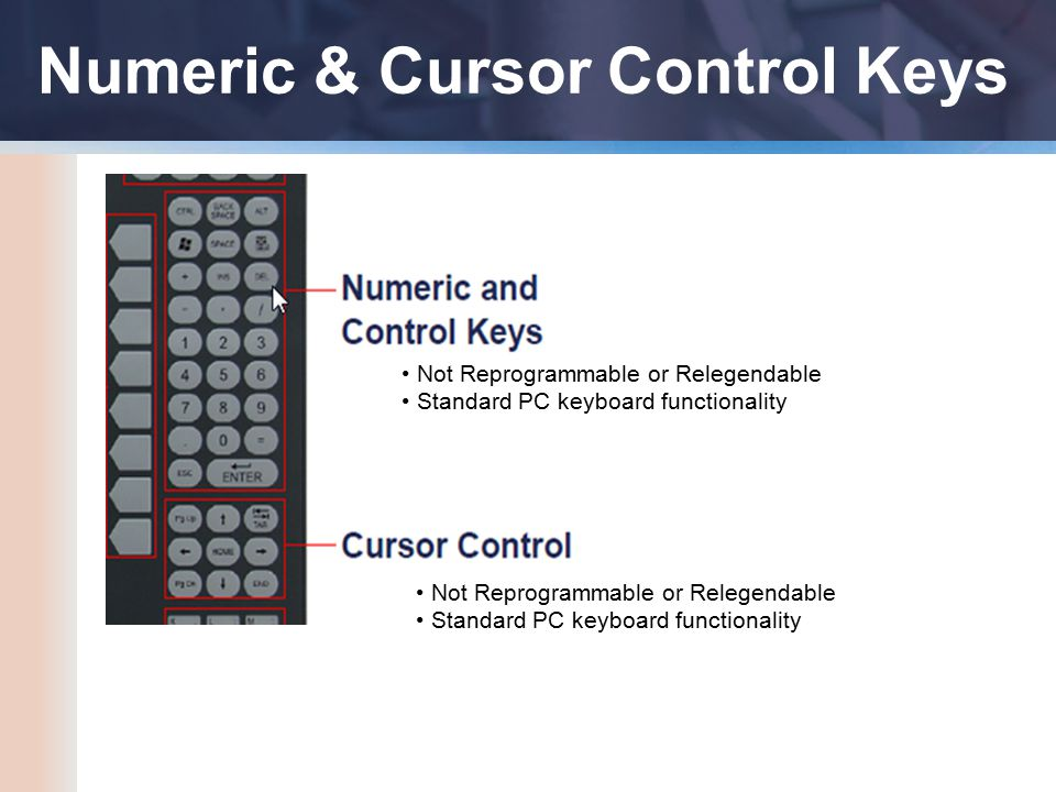 Numeric & Cursor Control Keys Not Reprogrammable or Relegendable Standard PC keyboard functionality Not Reprogrammable or Relegendable Standard PC keyboard functionality