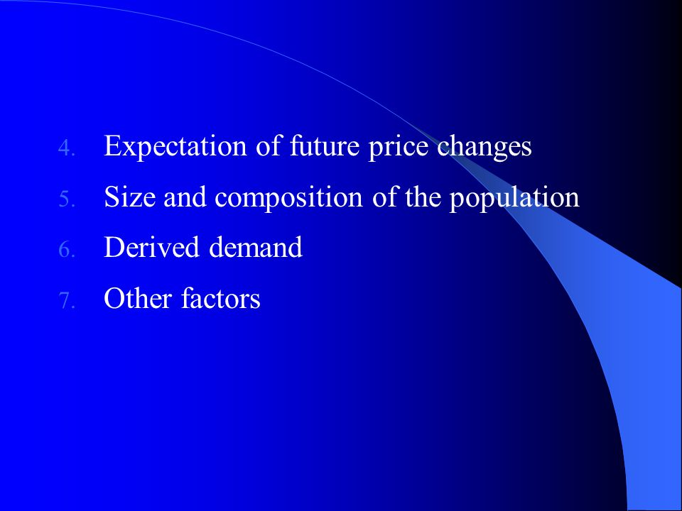 4. Expectation of future price changes 5. Size and composition of the population 6.
