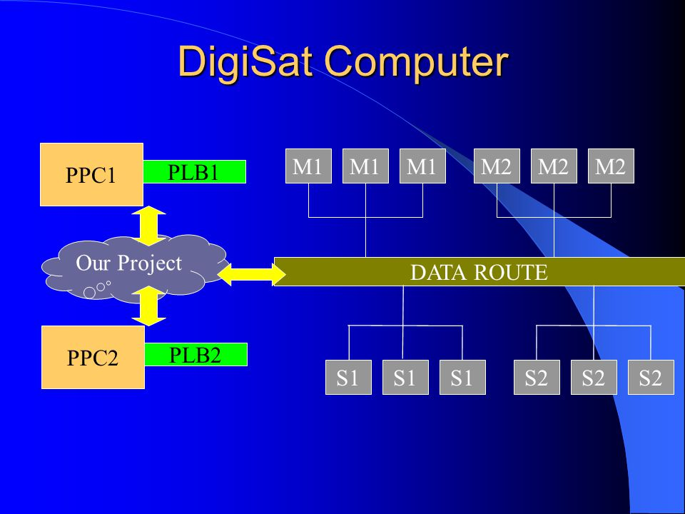 DigiSat Computer PPC1 PLB1 DATA ROUTE M1 M2 S1 S2 PPC2 PLB2 Our Project