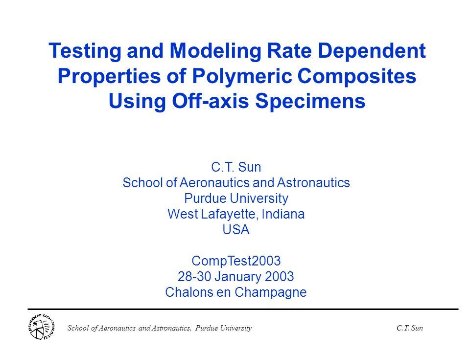 School of Aeronautics and Astronautics, Purdue UniversityC.T. Sun Testing and Modeling Rate Dependent Properties of Polymeric Composites Using Off-axi