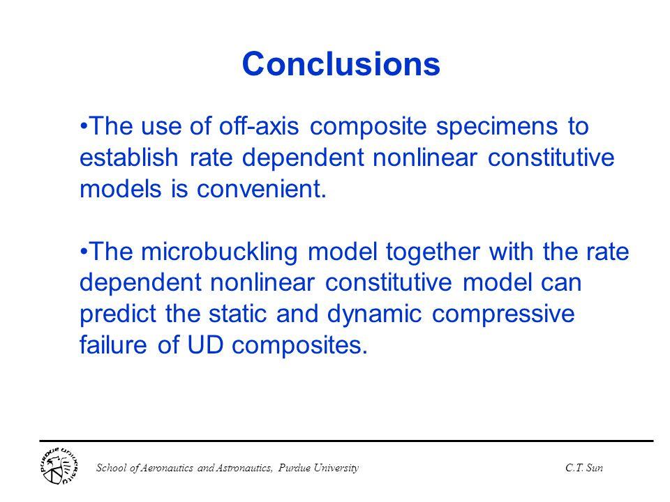School of Aeronautics and Astronautics, Purdue UniversityC.T. Sun Conclusions The use of off-axis composite specimens to establish rate dependent nonl