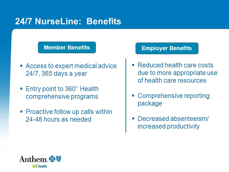 24/7 NurseLine: Benefits  Access to expert medical advice 24/7, 365 days a year  Entry point to 360 ° Health comprehensive programs  Proactive follow up calls within 24-48 hours as needed  Reduced health care costs due to more appropriate use of health care resources  Comprehensive reporting package  Decreased absenteeism/ increased productivity Member Benefits Employer Benefits