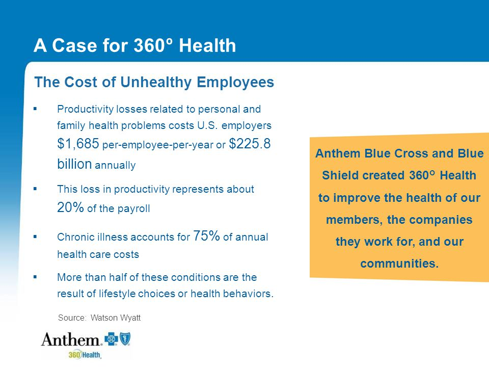 360 ° Health - Your Total Health Solution 360 ° Health surrounds members with the help they need to live healthier lives.
