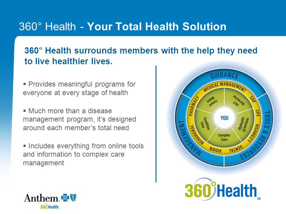 Differentiators: Broad Spectrum of Services 360 ° Health covers a spectrum of health services that are designed to address the needs of your total employee population.