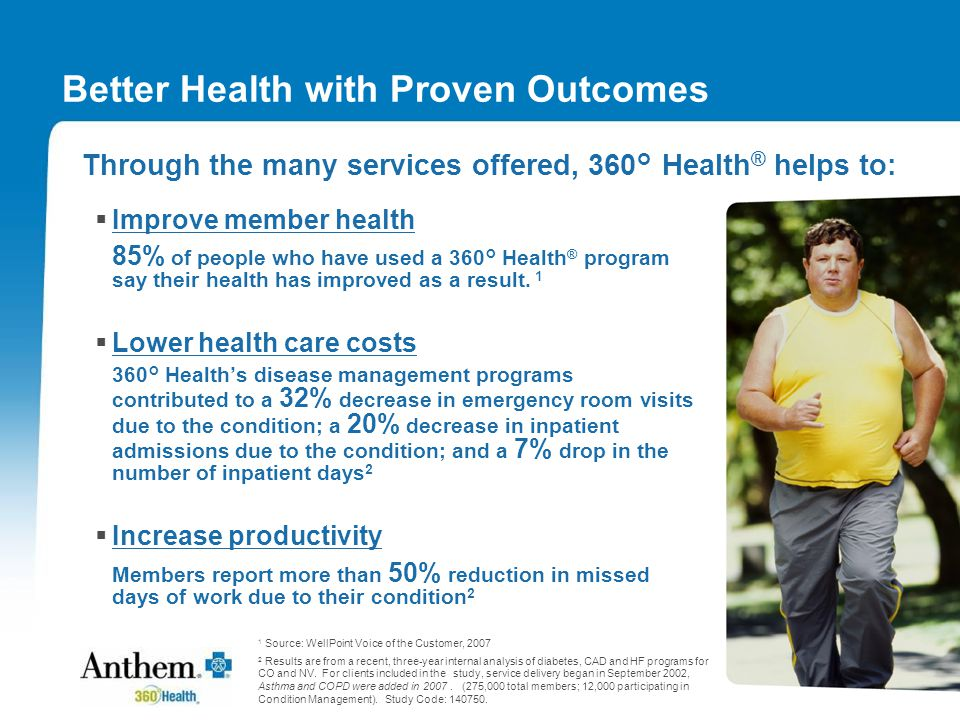 Better Health with Proven Outcomes  Improve member health 85% of people who have used a 360° Health ® program say their health has improved as a result.