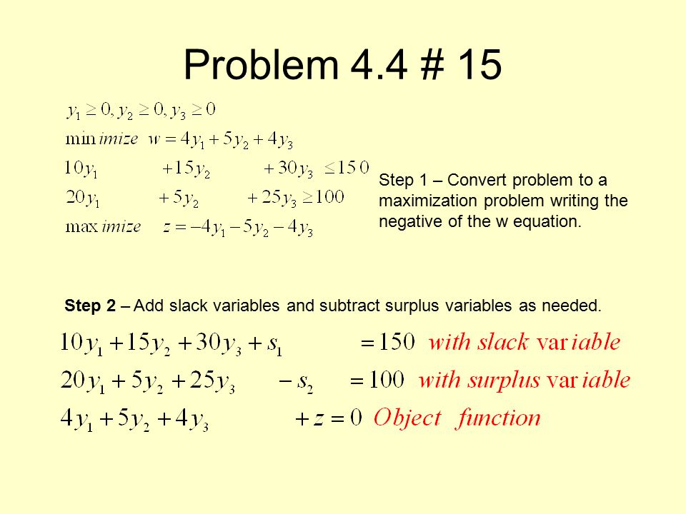Problem 4.4 # 15 Step 1 – Convert problem to a maximization problem writing the negative of the w equation.